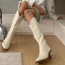 韩倾倾网红复古侧拉链中跟高筒尖头西部牛仔长靴女不过膝骑士靴