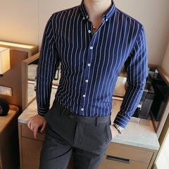 主推爆款秋新品男士条纹长袖衬衫时尚百搭青年衬衣101A-C069-P22