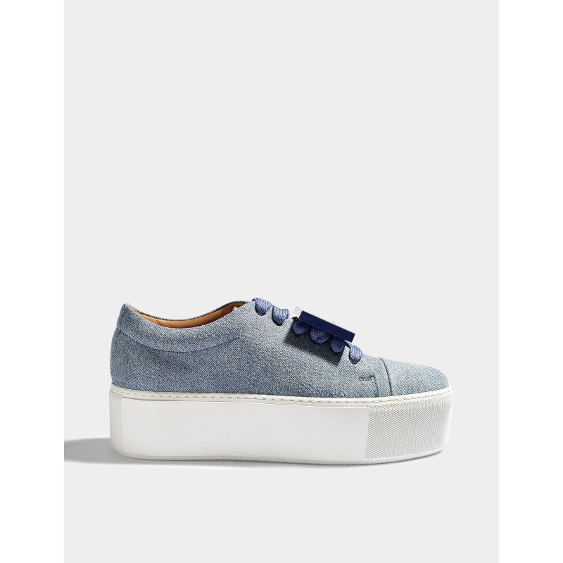 Acne Studios Drihanna 艾克妮女鞋 牛仔蓝笑脸鞋 牛皮厚底松糕鞋