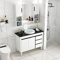 讴标一体智能实木浴室柜组合现代简约卫生间挂墙镜柜洗漱台洗脸盆