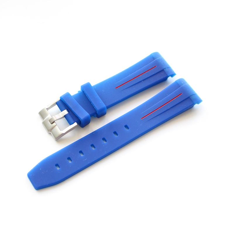 天然橡胶表带 20MM硅胶表带 适配Rubber B 水鬼 蓝色红线男款表带