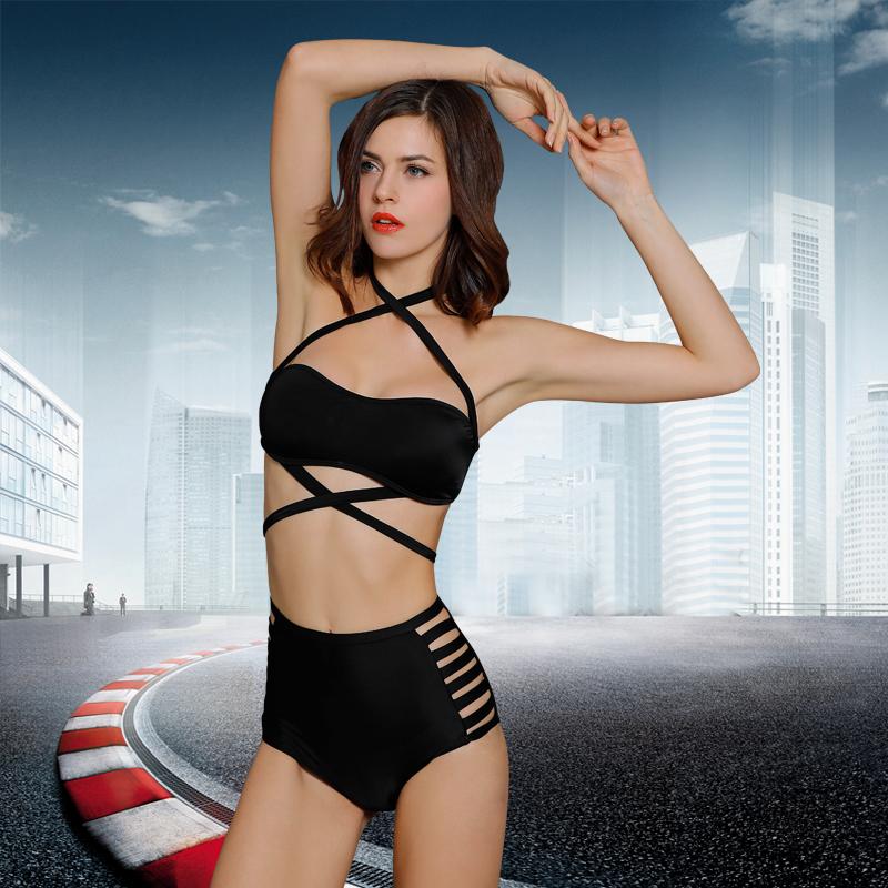 欧美绑带比基尼bikini温泉游泳衣显瘦大胸小胸聚拢交叉系带泳衣女券后68.00元