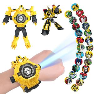 大黄蜂变形金刚儿童玩具电子手表投影幼儿园变身超人机器人礼物男