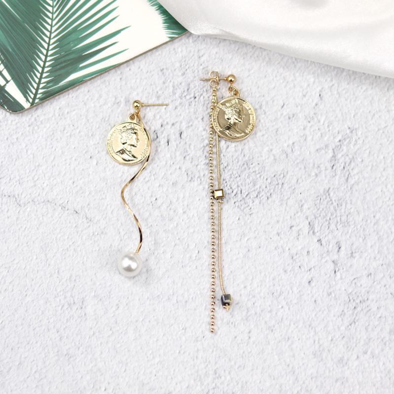 复古质感钱币人像流苏不对称耳环 女气质链条真珍珠长款耳钉耳坠