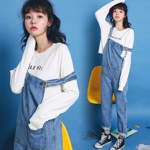 ulzzang学生bf宽松chic潮时尚 减龄长裤 复古牛仔背带裤 春季韩版多少钱  便宜价格_阿牛购物网