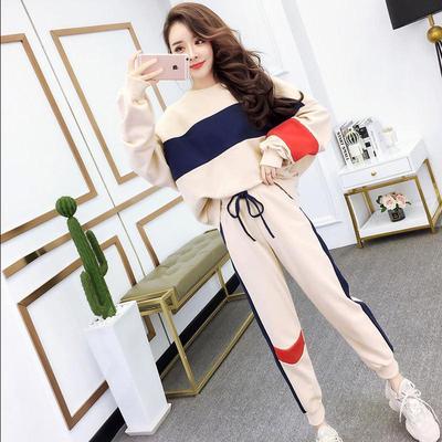 时尚休闲运动套装女秋冬新款韩版学生宽松上衣显瘦小脚裤子两件套