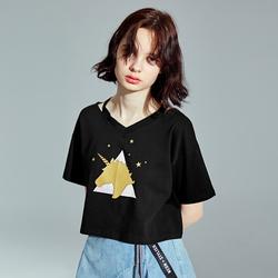 乐町2018夏季新款黑色短袖t恤ins超火的上衣女短款宽松韩系小上衣
