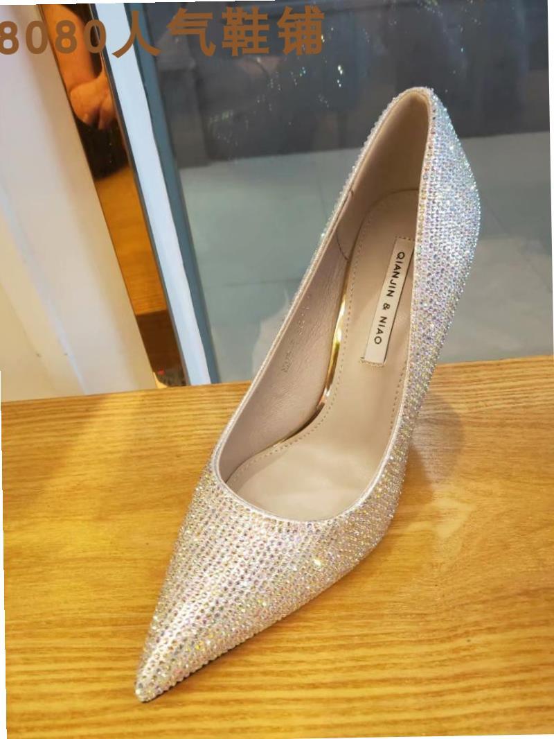 2020 diamond thin heel womens shoes 10 shiny thin high heels womens thin heel cm pointed single shoes new wedding shoes