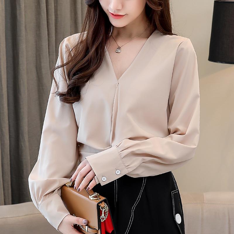 实拍2019秋chic韩版心机设计感衬衫女装长袖雪纺衬衣v领上衣短款