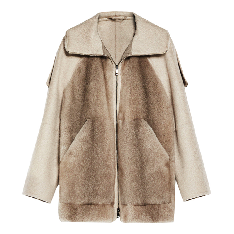Imported velvet, mink fur, lady fur, cashmere double faced jacket, high collar hooded wool coat