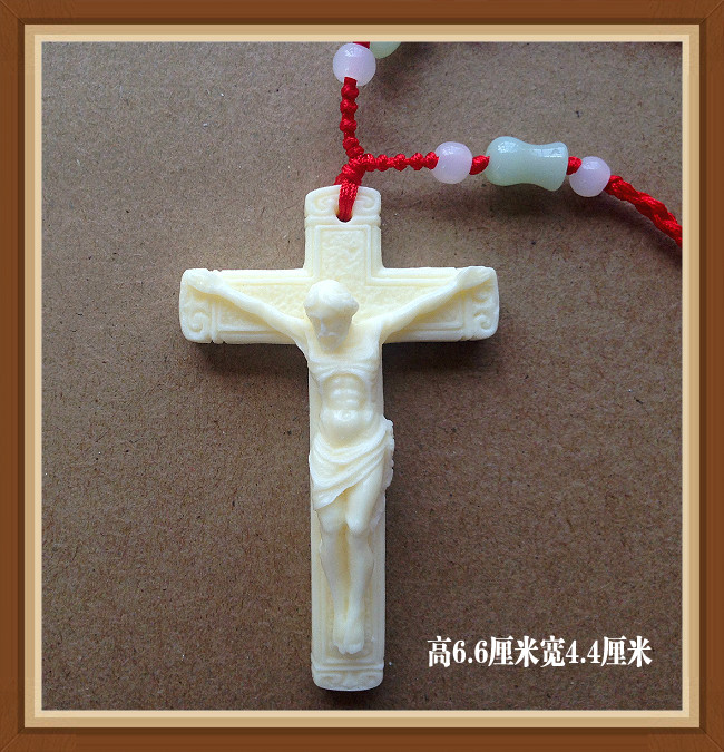Beautiful ivory fruit powder carving jewelry Cross Necklace accessories women mens Pendant sweet Japan and Korea