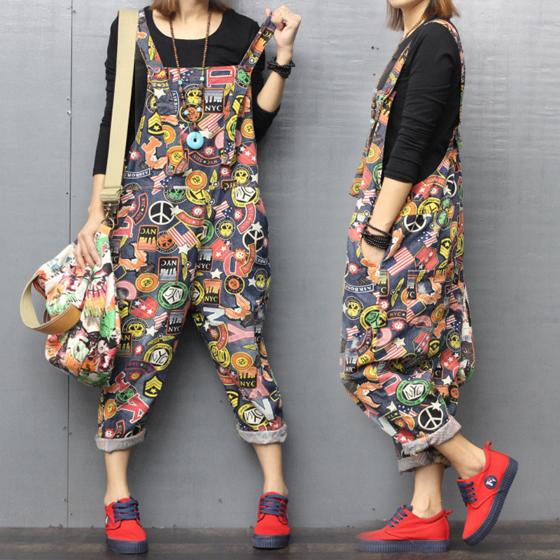 Autumn new denim printed back belt pants womens loose large 9-point pants casual small legged trouser Jumpsuit spring