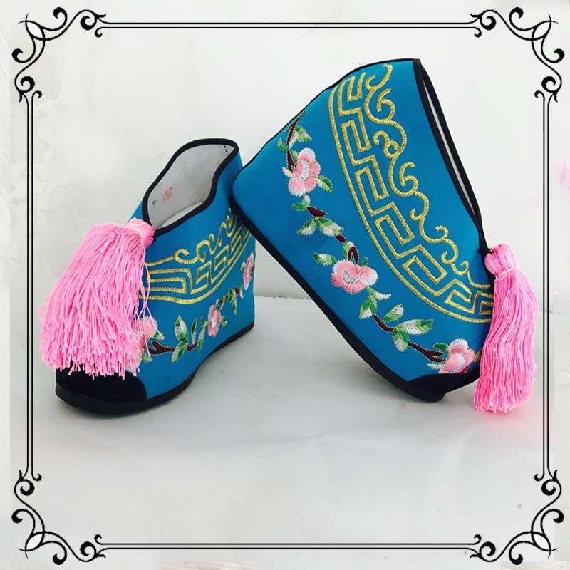 Обувь для обуви, цветочная обувь цвет Увеличение обуви высокая Вышитые туфли для женщин цвет Драма драмы драмы Мисс цвет башмак пакет