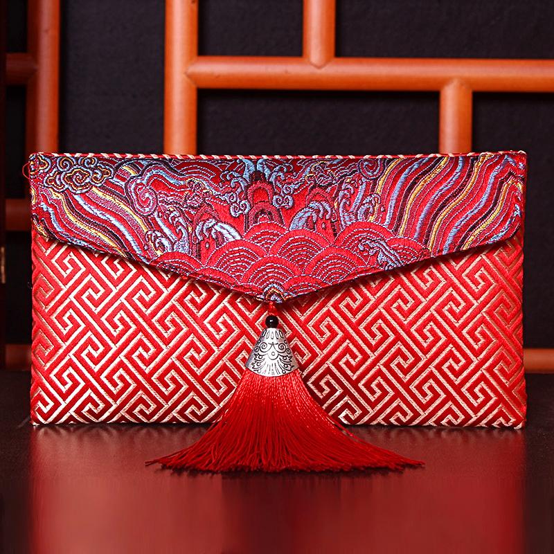 结婚万元红包袋创意高档婚礼刺绣个性礼金布包生日祝寿布艺利是封 Изображение 1