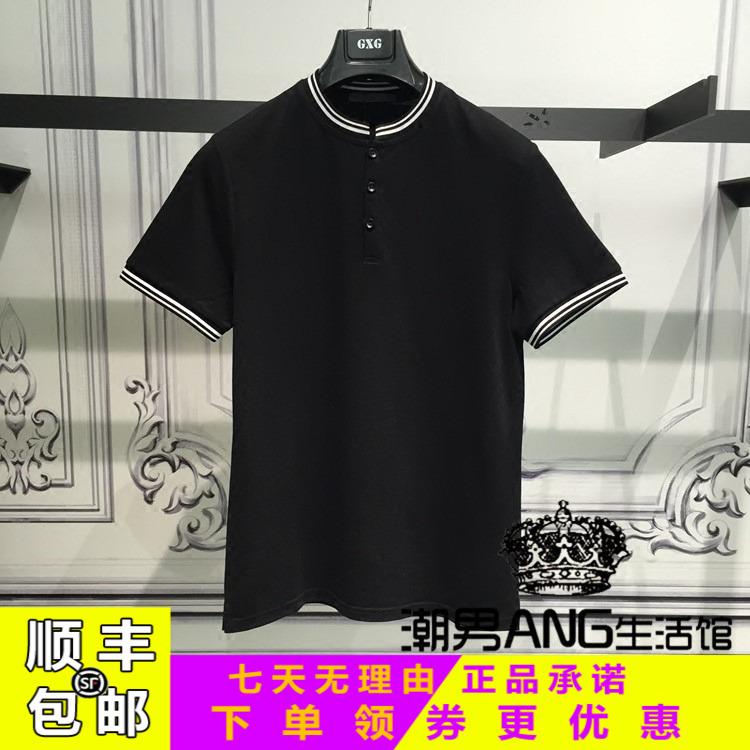 GXG男装2018夏季商场正品青年修身潮流黑色立领POLO衫男182124105