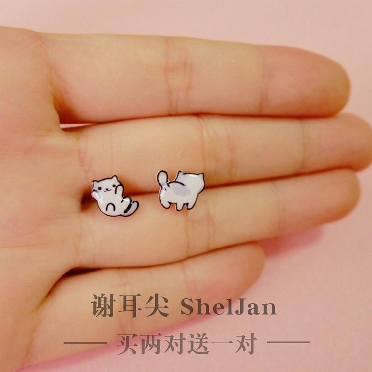 Korean cute Earrings female Korean asymmetric Cat Earrings birthday gift