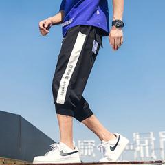 2019夏季新款宽松休闲束脚裤薄款 男士运动七分裤沙滩裤 K05-P40