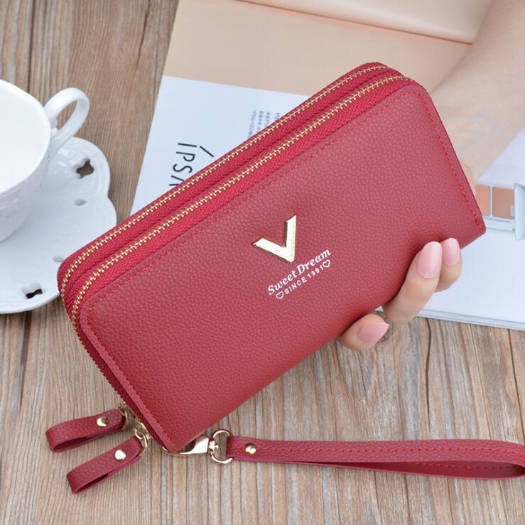 2020 new womens bag Korean fashion multifunctional womens wallet long mobile bag large capacity double zipper wallet