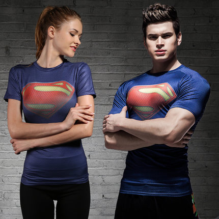 Mens and womens Captain USA Superman tights sports T-shirt fitness suit Yoga Stretch breathable quick dry clothes short sleeves
