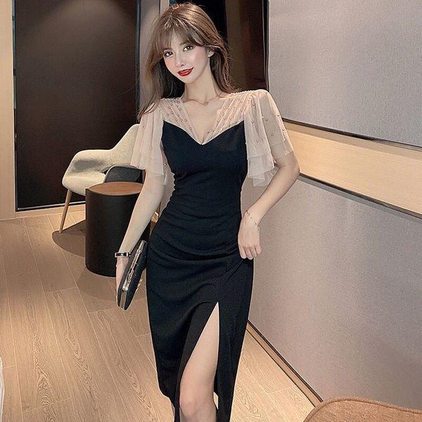 TS17014#超显曲线水晶钉珠开衩性感黑色长款连衣裙女