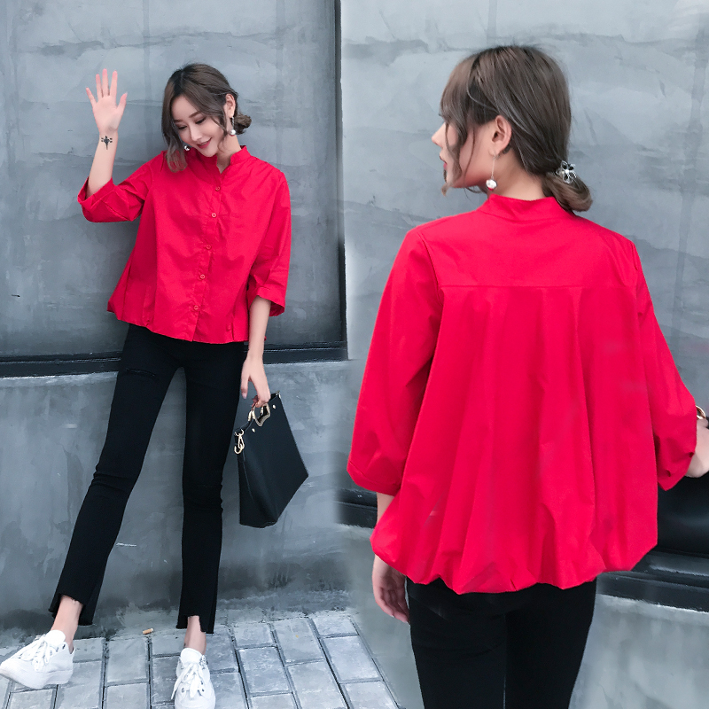 Europe station spring 2020 new sweet and fluffy hem loose and thin short doll standing collar shirt top