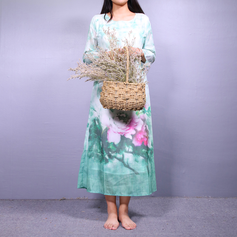 起念2018夏季新款中国风文艺复古印花改良连衣裙女禅意茶人服