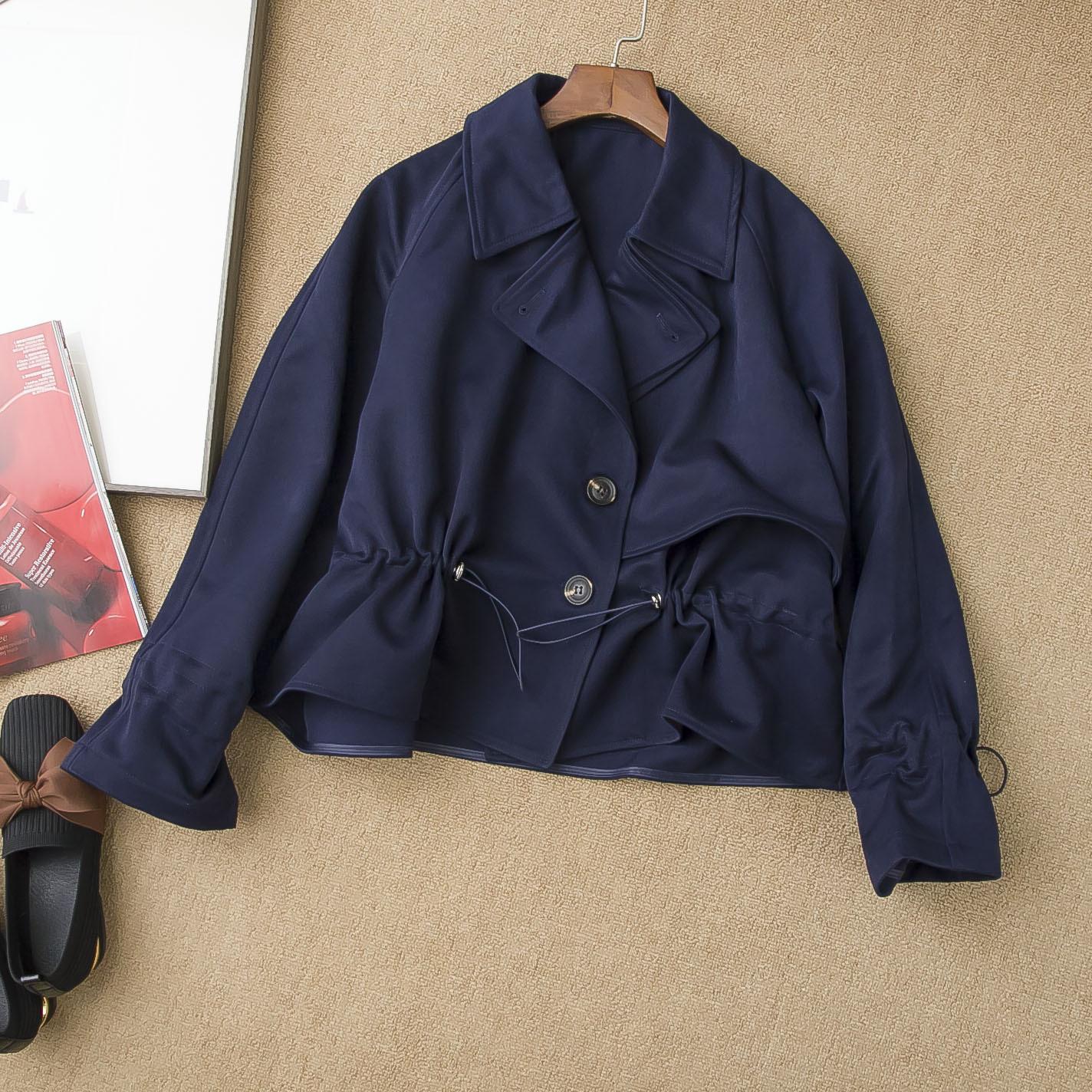 好品质 早秋时尚女 宽松休闲短风衣 斗篷款抽绳夹克外套短款上衣