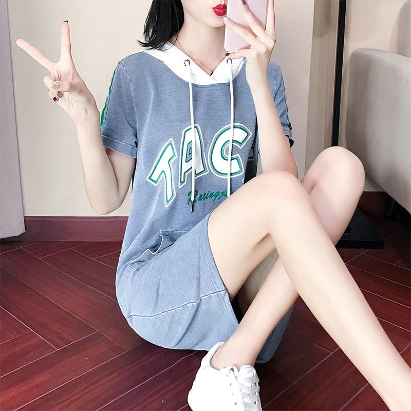 2018新款卫衣女夏短袖宽松韩版显瘦中长款牛仔休闲运动连衣裙