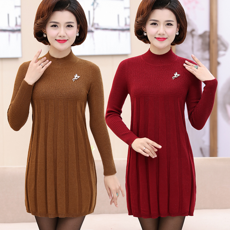 Middle aged and elderly womens clothing autumn and winter medium length sweater fattening and enlarging size, mothers bottoming sweater, knitwear dress