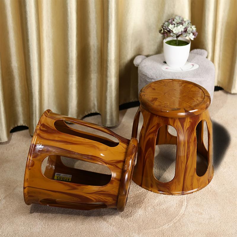 (用7元券)时尚仿木纹凳创意餐桌凳塑料防滑休闲板凳加厚浴室凳客厅换鞋凳