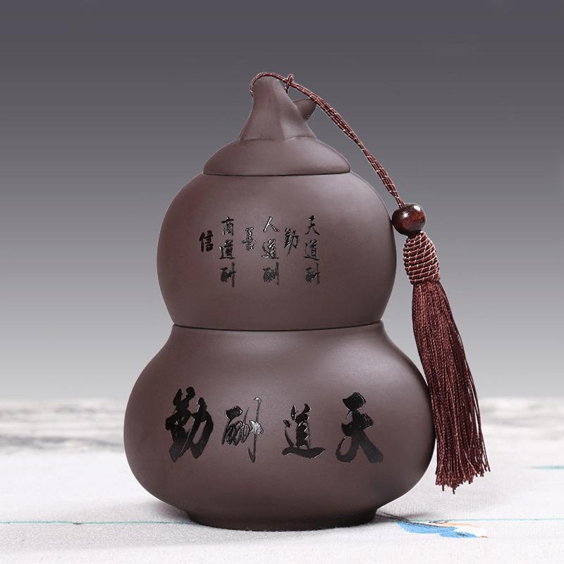 茶叶罐陶瓷 密封存储罐 便携家用小包装防潮紫砂普洱哥窑葫芦定制