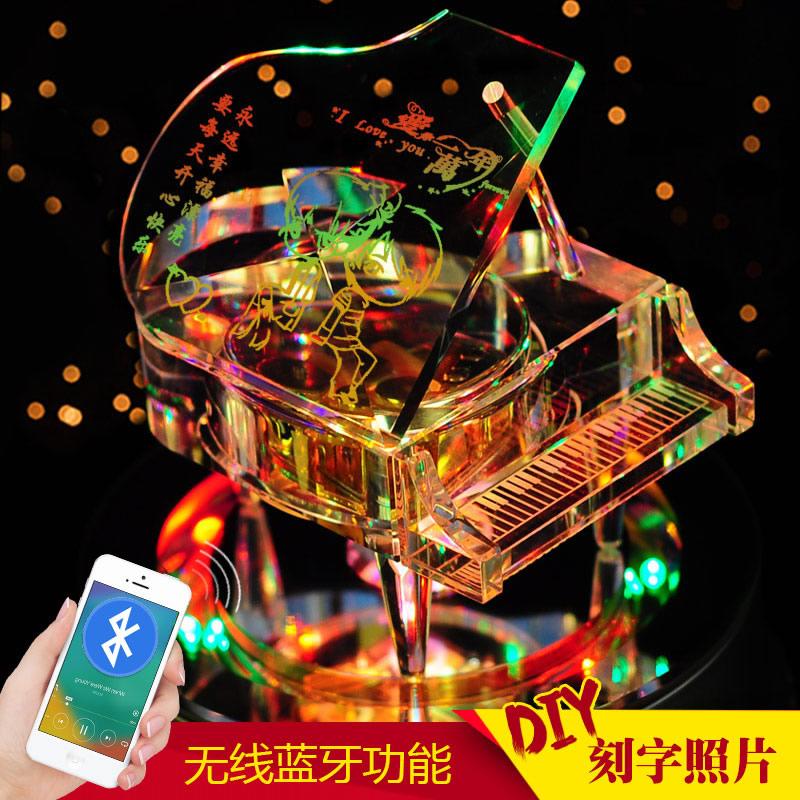 水晶钢琴音乐盒八音盒女生生日礼物创意情人节礼品男生儿童定制