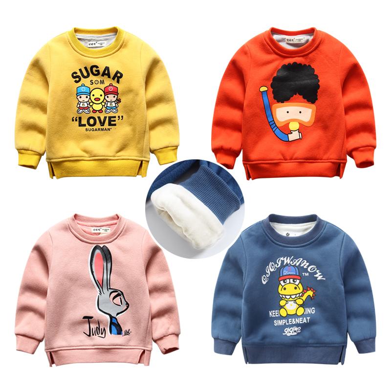 秋冬の暖かさと子供の服の厚いガーゼの男女の子供のボトムのシャツの子供の赤ちゃんのセーターの長袖のTシャツ