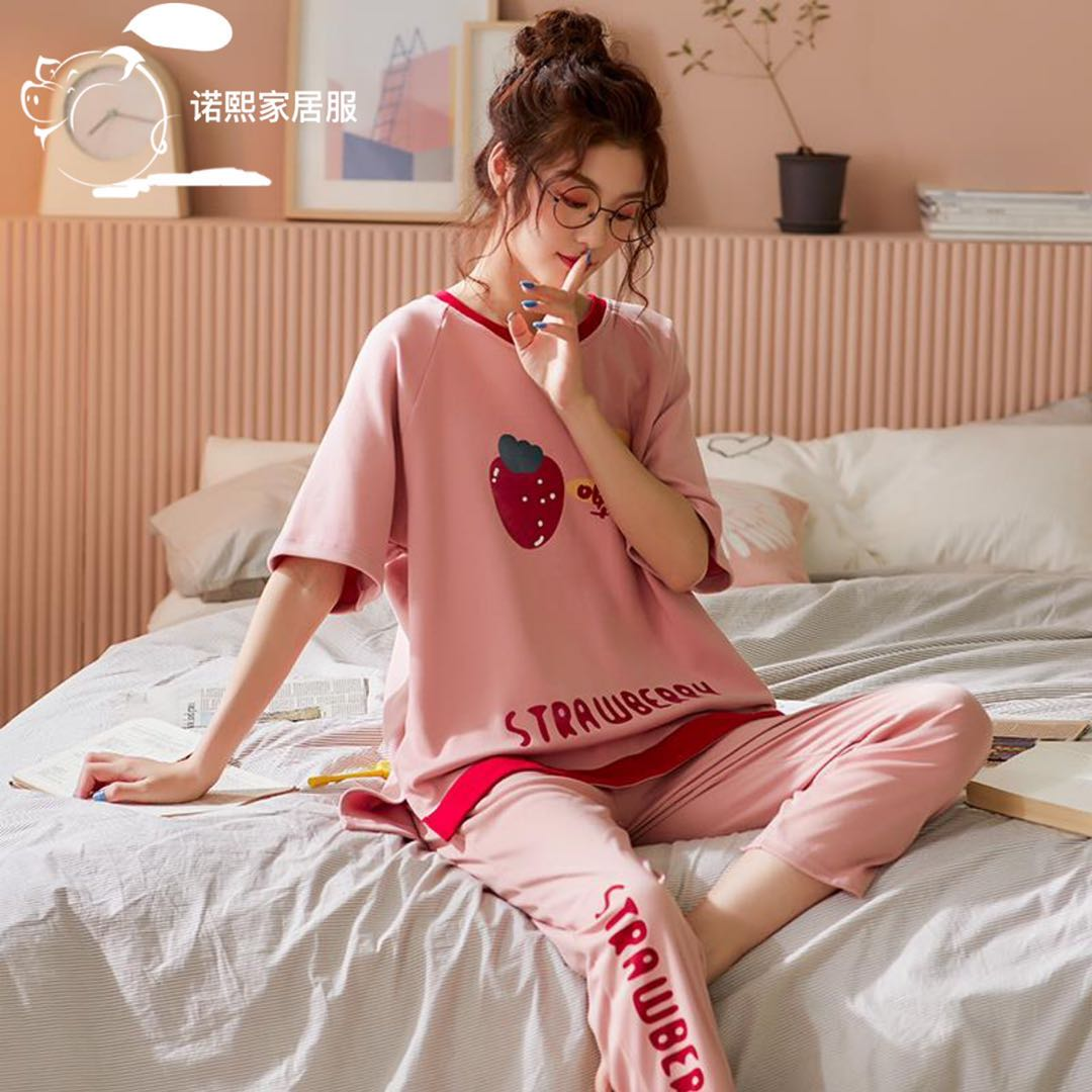 2020 Korean pyjamas spring and autumn girls cotton thin short sleeve long pants two piece suit fresh and loose home clothes summer