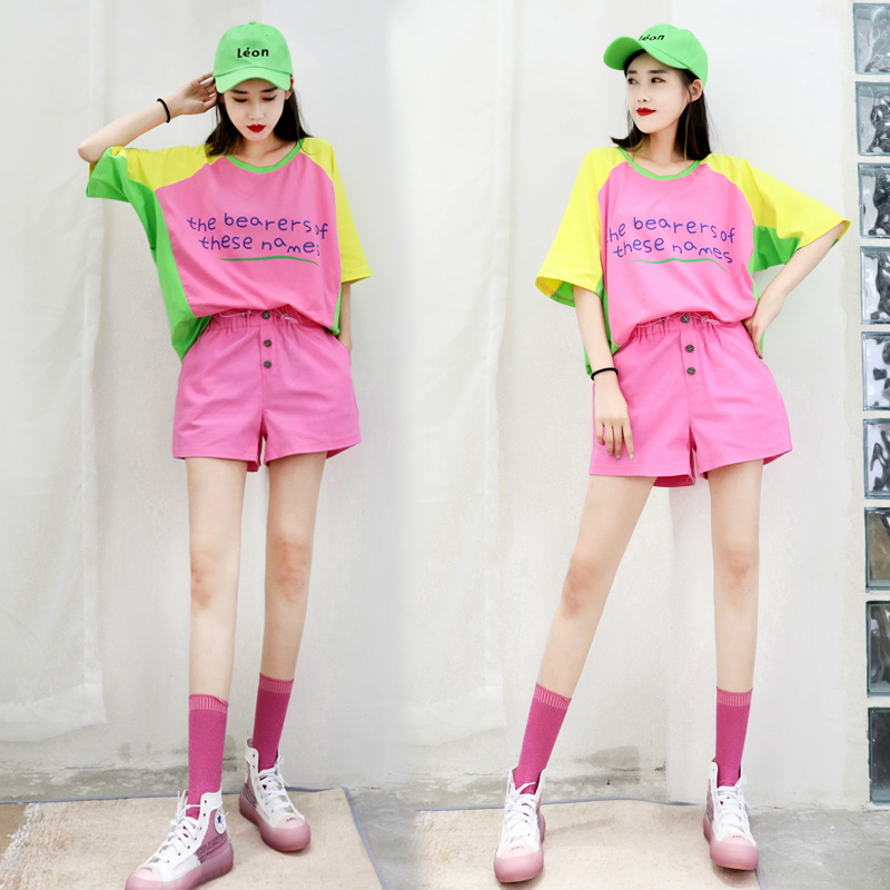 2020 summer leisure fashion suit womens color matching loose bat short sleeve shorts