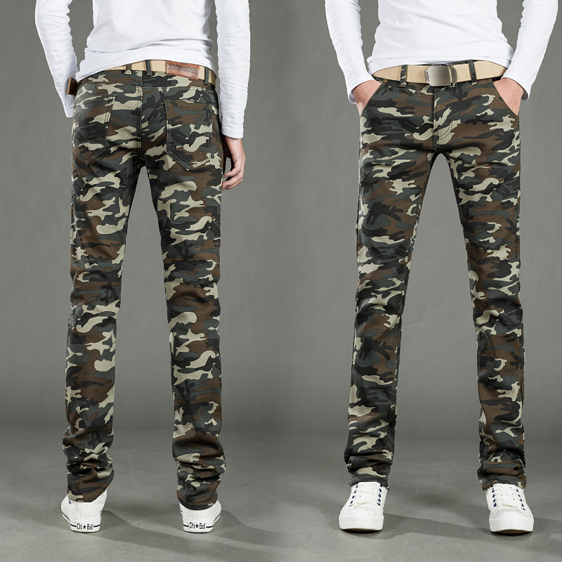 Autumn and winter thickened Plush casual camouflage pants mens slim fit elastic small foot tooling corset straight tube work pants mens pants