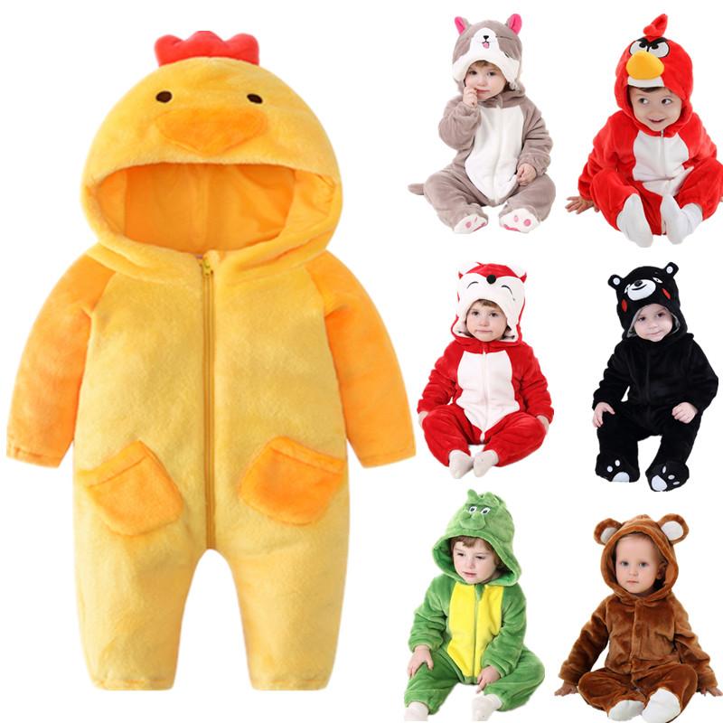 婴儿连体衣春秋宝宝可爱动物造型爬爬服哈衣男儿童女绒长袖外出服