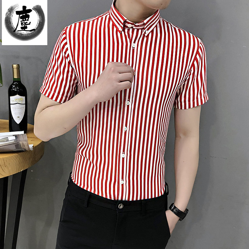 Summer popular short sleeve shirt mens top red and white stripe T-shirt Korean slim trend handsome long sleeve shirt