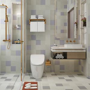 防水地贴卫生间浴室墙纸自粘厨房装饰地板贴纸地面铺贴耐磨瓷砖贴