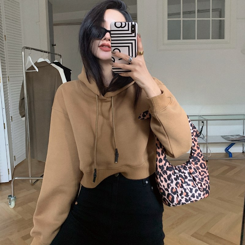 Winter hooded sweater womens thickened cardigan autumn small black high collar long warm lazy solid color sports