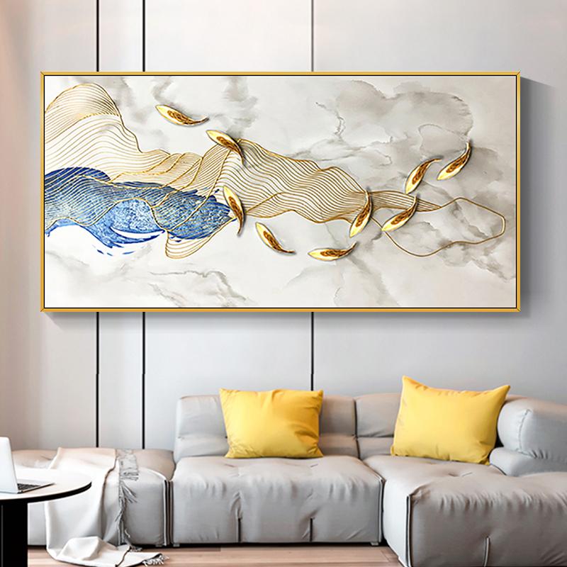 力争上游客厅沙发挂画手绘油画现代简约金线实物装饰画九鱼图