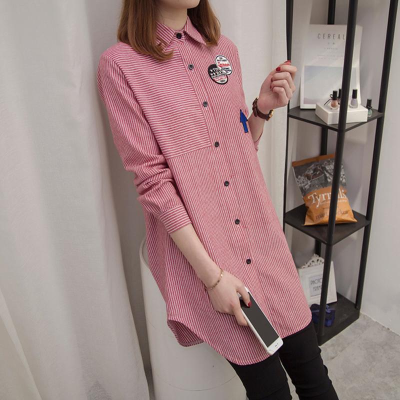 刺绣条纹衬衫女长袖2019春装新款宽松显瘦韩版中长款女士百搭衬衣