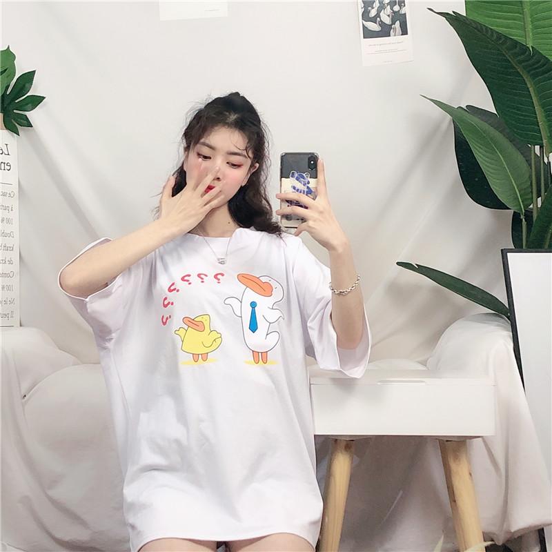 实拍实价 百搭超火ins半袖女T恤2019韩版宽松学生大码中长款上衣