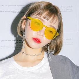 韩版原宿粉红蓝绿橘黄紫茶色眼镜复古墨镜女街拍抖音网红太阳镜图片
