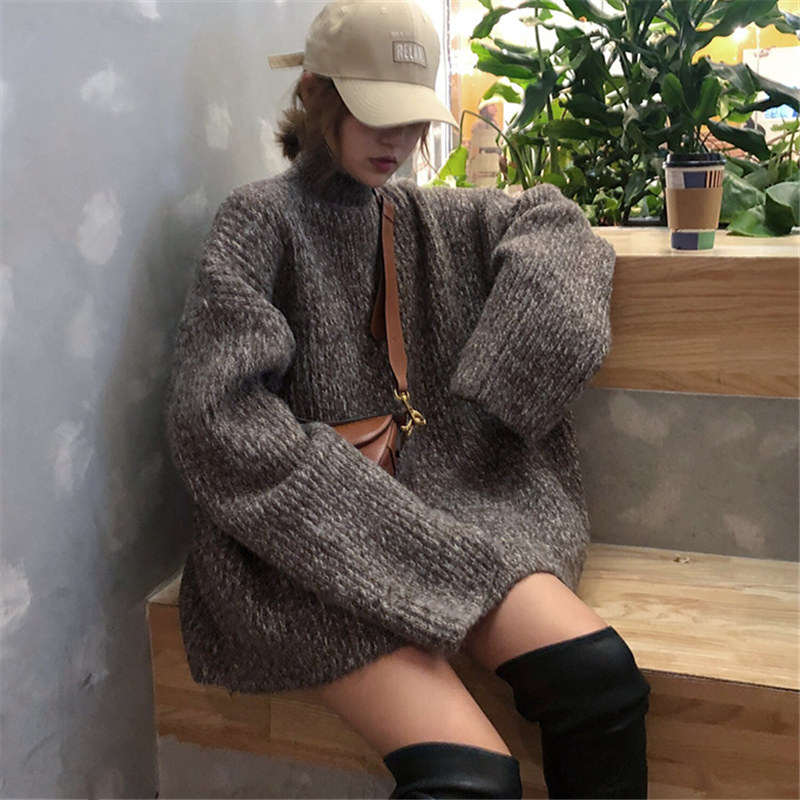 Winter 2019 Korean large sweaters womens loose chic Slouchy look thin versatile high neck thick needle sweater