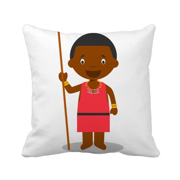 黑人野生肯尼亚卡通人物方形抱枕靠枕沙发靠垫双面含芯礼物