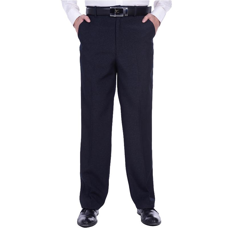 秋冬款中老年休闲裤中年男士长裤子厚款高腰直筒宽松爸爸装西裤棉