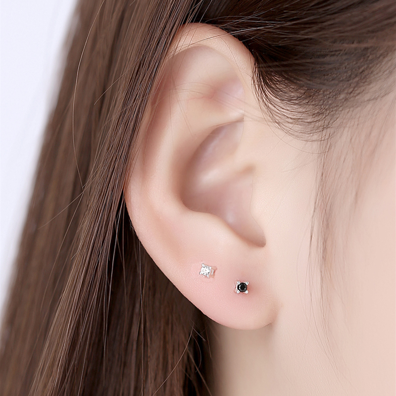 Pure silver earring 999 pure silver female genuine small ear bone nail cartilage earring thousand foot ear hole simple and small man