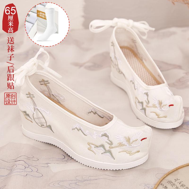 中國代購 中國批發-ibuy99 高跟鞋 高跟绣花鞋布复古女夏季汉服古风新娘结婚春季凉鞋婚鞋民族风