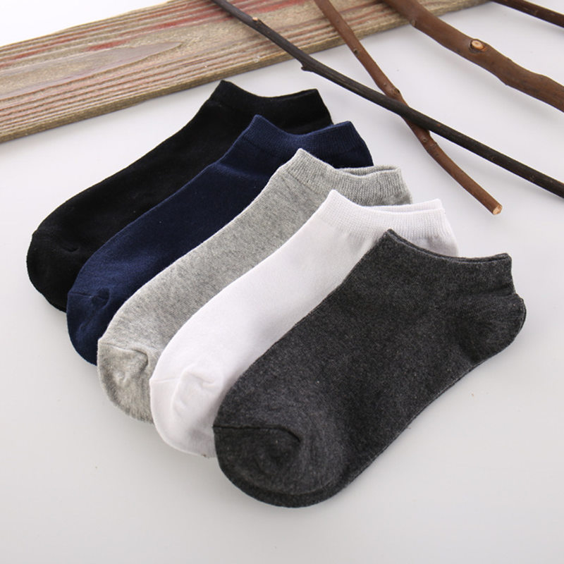 5 pairs of socks mens boat socks pure cotton light mouth socks low top short tube sports thin anti odor and sweat absorption in summer